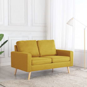 divvietīgs dīvāns, dzeltens audums