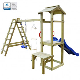 rotaļu laukums, slidkalniņš, kāpnes un šūpoles, 286x228x218 cm