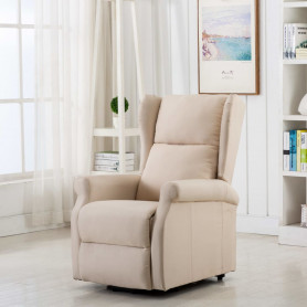 masāžas krēsls, paceļams, krēmkrāsas audums
