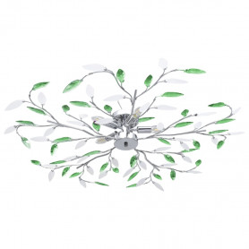 griestu lampa, akrila lapiņas, 5 E14 spuldzes, zaļa