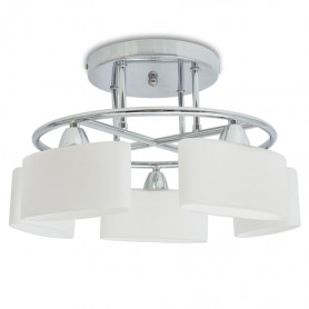 griestu lampa ar elipsoidāliem abažūriem, 5 E14 spuldzes, 200 W