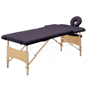 saliekams masāžas galds, 2 daļas, koks, violets