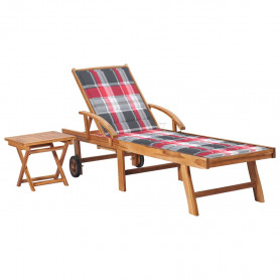 sauļošanās zvilnis ar galdiņu un matraci, masīvs tīkkoks