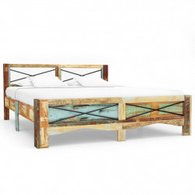 vidaXL gultas rāmis, pārstrādāts masīvkoks, 140x200 cm