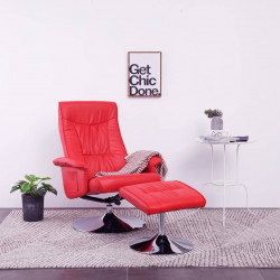 vidaXL atpūtas krēsls ar kāju soliņu, atgāžams, sarkana mākslīgā āda