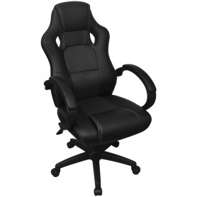 biroja krēsls, sacīkšu sēdekļa forma, melna mākslīgā āda