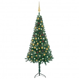 mākslīgā Ziemassvētku egle ar LED un rotājumiem, stūra, 180 cm