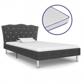 vidaXL gulta ar atmiņas efekta matraci, 90x200 cm, tumšpelēks audums