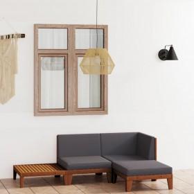 vidaXL dārza atpūtas gulta ar aizkariem, melna PE rotangpalma