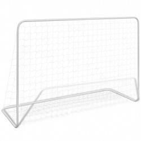 futbola vārti ar tīklu, 182x61x122 cm, tērauds, balti
