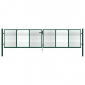 sieta žoga vārti, zaļi, 400x100 cm, tērauds