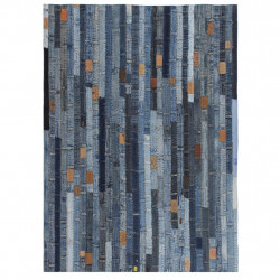 paklājs, džinsu jostasvietas tekstilmozaīka, 160x230 cm, zils