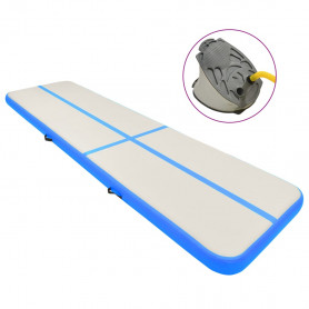 piepūšams vingrošanas paklājs ar pumpi, 800x100x15 cm, zils PVC