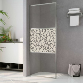 dušas siena, ESG stikls ar akmeņu dizainu, 140x195 cm