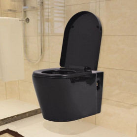 tualetes pods, stiprināms pie sienas, melna keramika