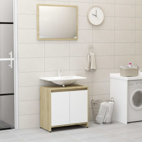 vannasistabas mēbeļu komplekts, ozolkoka, balta, skaidu plātne