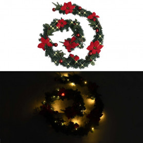 Ziemassvētku vītne ar LED lampiņām, 2,7 m, zaļa, PVC