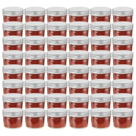 ievārījuma burciņas, sudraba krāsas vāciņi, 48 gab., 110 ml