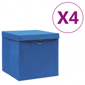 uzglabāšanas kastes ar vāku, 4 gab., zilas, 28x28x28 cm