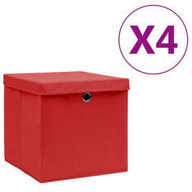 uzglabāšanas kastes ar vāku, 4 gab., sarkanas, 28x28x28 cm