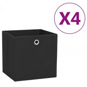 uzglabāšanas kastes, 4 gab., 28x28x28 cm, melns neausts audums