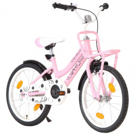 bērnu velosipēds ar priekšējo bagāžnieku, 18'', rozā ar melnu