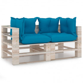 divvietīgs dārza palešu dīvāns ar matračiem, priedes koks
