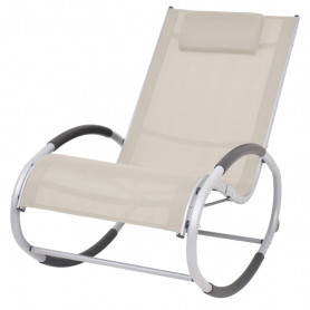 dārza šūpuļkrēsls, krēmkrāsas tekstilēns