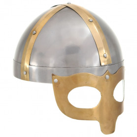 vikingu bruņucepure, replika, sudraba krāsas tērauds