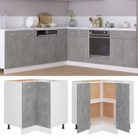 virtuves stūra skapītis, betona pelēks, 75,5x75,5x80,5 cm