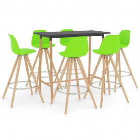 7-daļīgs bāra mēbeļu komplekts, zaļš