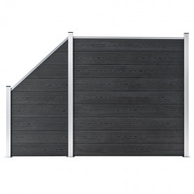 dārza žogs, 1 kvadrāta, 1 slīps panelis, 273x186 cm, pelēks WPC