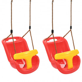 bērnu šūpoles ar drošības jostu, 2 gab., PP, sarkanas