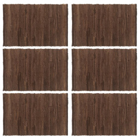 Chindi galda paliktņi, 6 gab., brūni, 30x45 cm, kokvilna