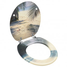 tualetes poda sēdeklis ar vāku, MDF, pludmales dizains