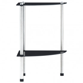 2-līmeņu plaukts, 30x30x47 cm, melns rūdīts stikls