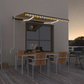 markīze ar LED un vēja sensoru, 350x250 cm, dzeltenbalta