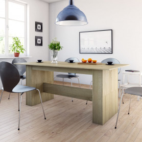 virtuves galds, 180x90x76 cm, ozolkoka krāsā, skaidu plāksne