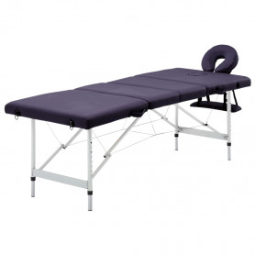 saliekams masāžas galds, 4 daļas, alumīnijs, violets