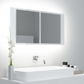 vannasistabas spoguļskapītis ar LED, balts, 90x12x45 cm