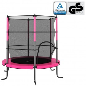 batuts ar drošības tīklu, apaļš, 140x160 cm, rozā